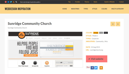 Sunridge Church Website Showcased on Several Web Design Galleries
