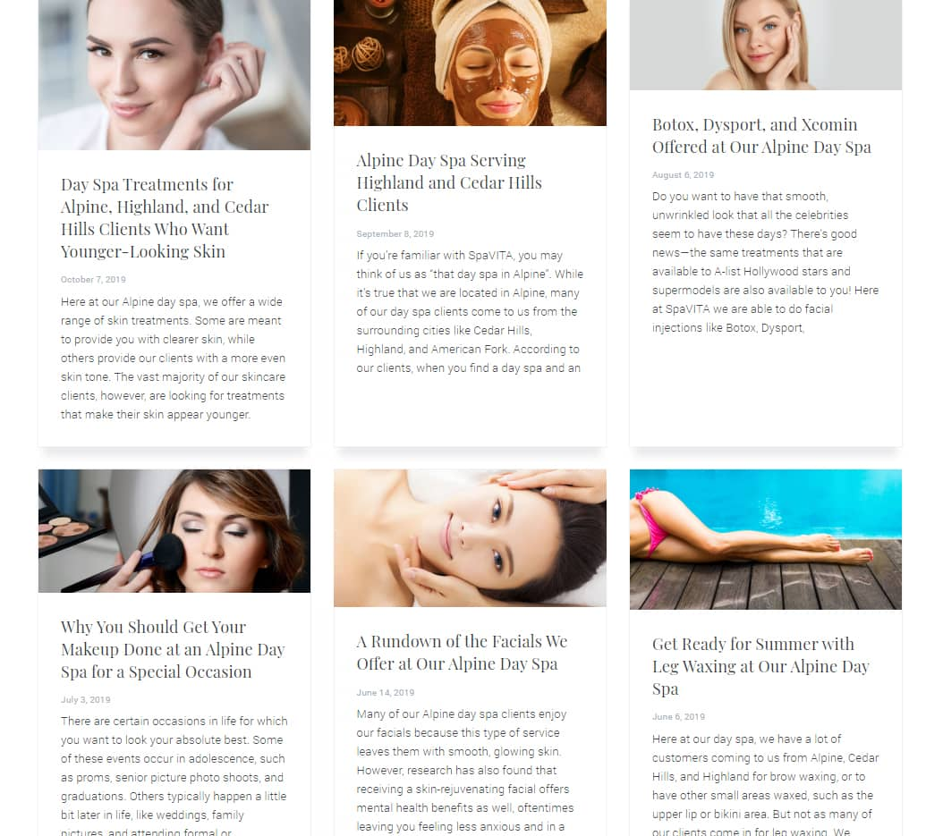 day spa web design